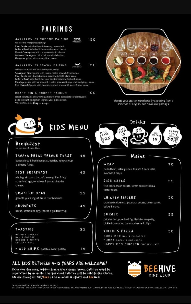 Pairings & Kids Menu